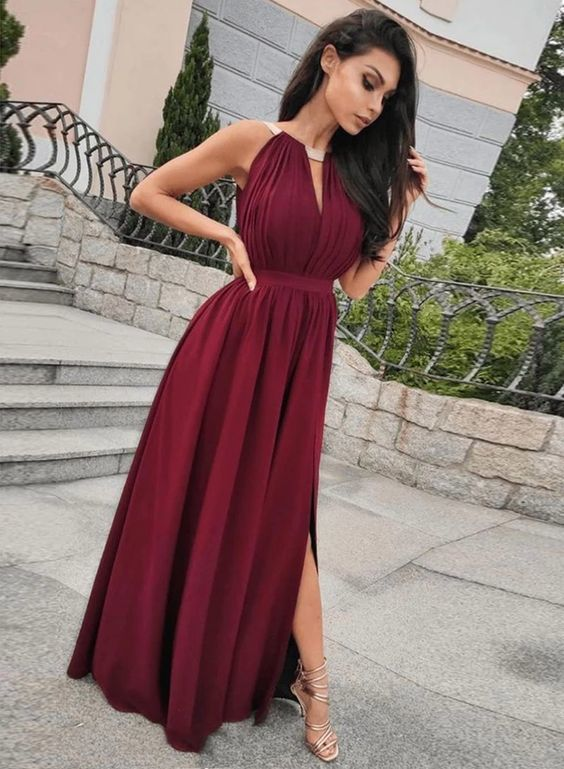 Sexy A Line Halter Burgundy Long Prom/Evening Dresses with Keyhole  M8652