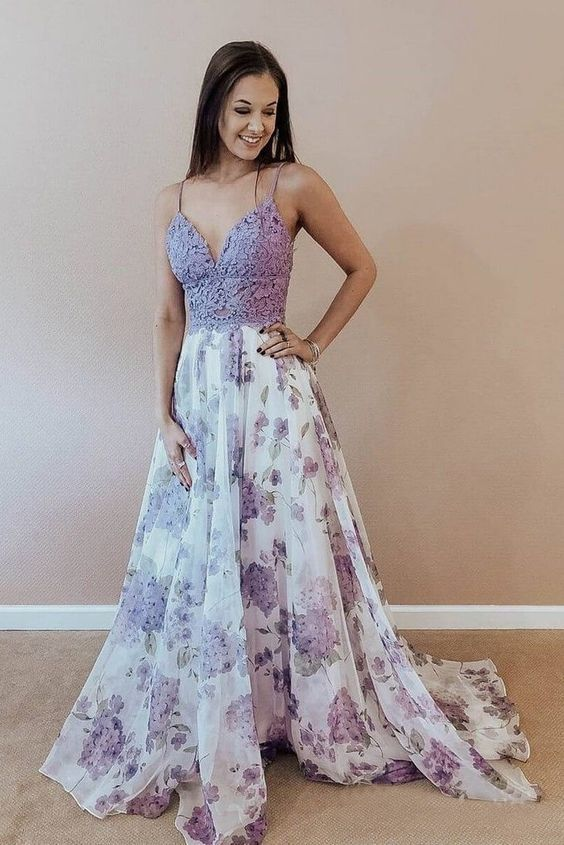 Purple Applique Full Length School Event Dress,Spaghetti-Straps Sleeveless