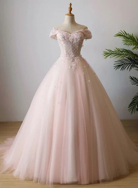 Lovely Light Pink Sweetheart Flowers Tulle Party Dress, Pink Prom Dress M8656