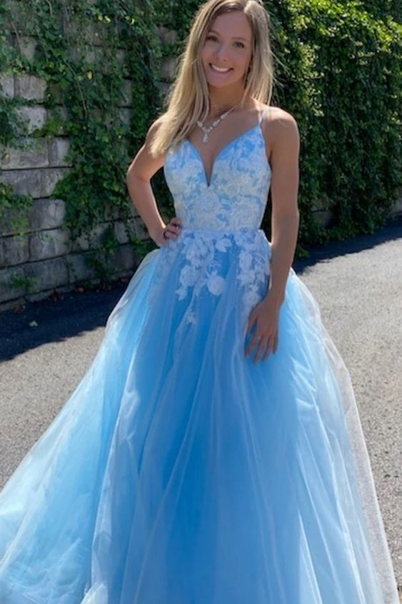 Blue v neck tulle lace long prom dress blue tulle evening dress M8657