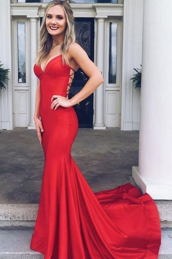 Simple red satin mermaid backless long prom dress M8658