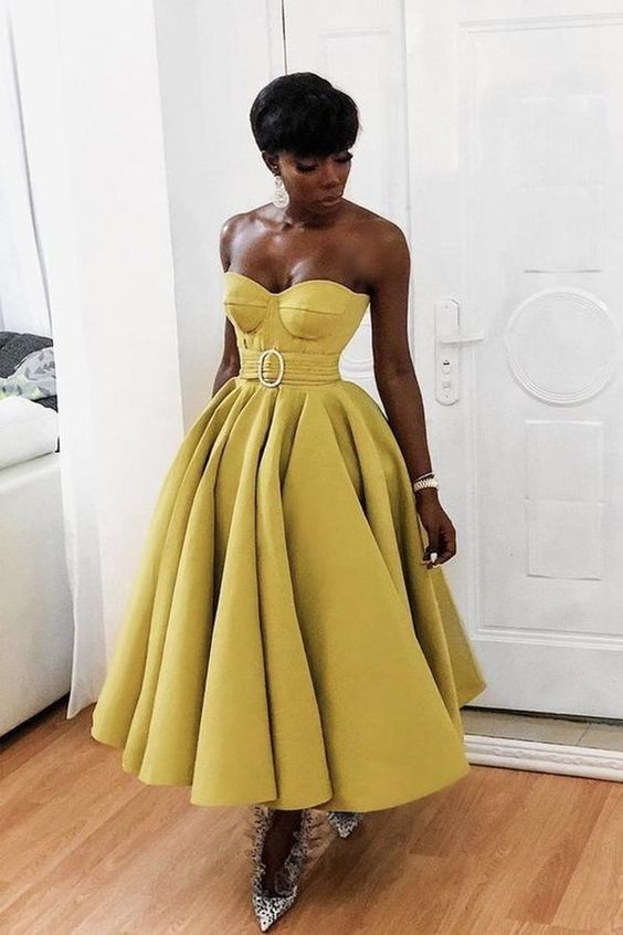 Yellow sweetheart neck satin tea length prom dressM8660