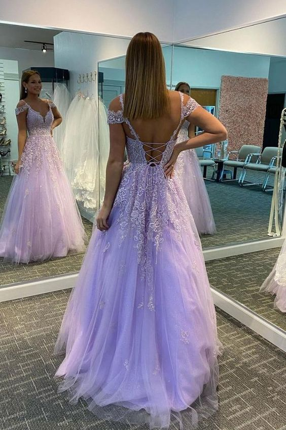 Purple tulle long prom dress purple lace long evening dress M8661