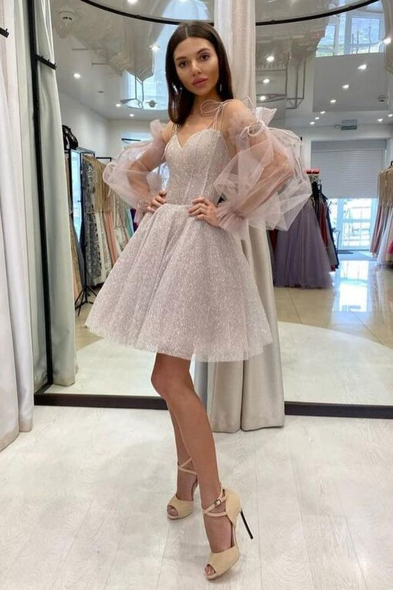 Cute sweetheart neck tulle sequin short homecoming dress M8662