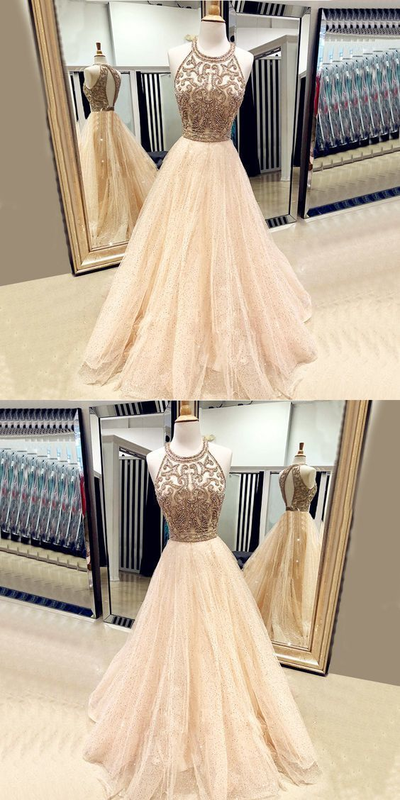 Champagne Stunning Halter Beaded Crystal Bodice Prom Dress M8664