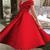 Red Satin Tea Length Bridesmaid Dress, Off Shoulder Short Prom Dress