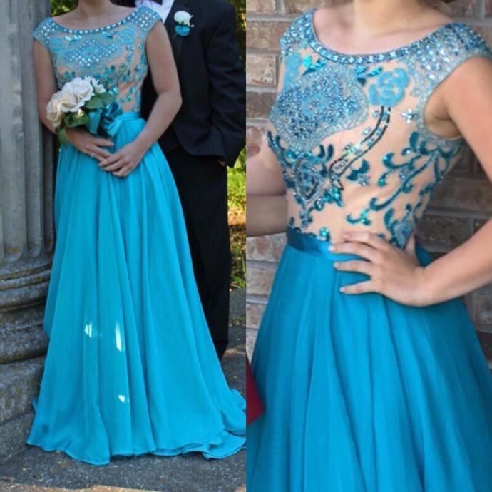 Charming O-Neck A-Line Appliques prom Dress,Long Prom Dress,Charming Prom