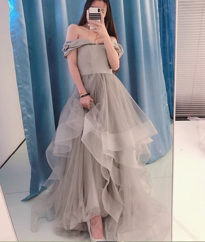 Newest A-Line Off The Shoulder prom Dress,Long Prom Dress,Charming Prom