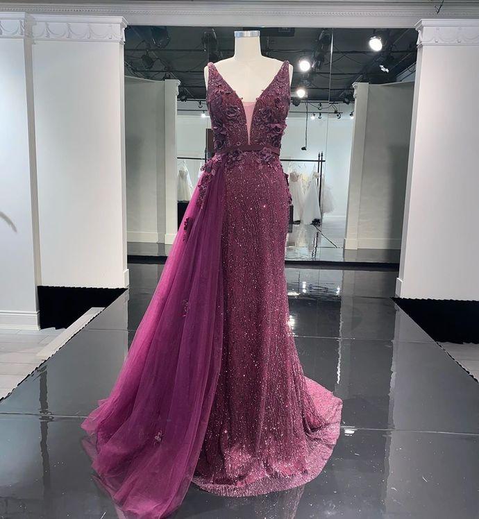 Newest Prom Dress,V-Neck Prom Dress,A-Line Prom Dress,Long Prom Dress,Evening