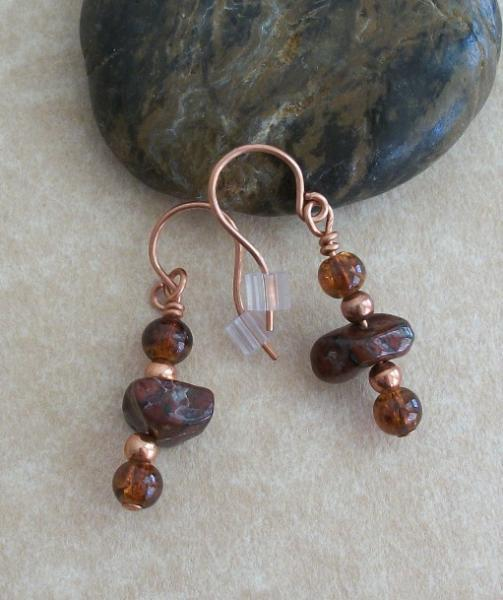 Handmade Copper Jasper Gemstone Beaded Dangle Earrings