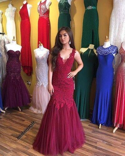 Charming Prom Dress Sleeveless Appliques Prom Dress Tulle Mermaid Evening