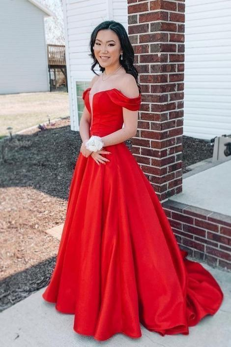 Off the Shoulder Red Long Ball Gown prom dress with Pockets,DR1936