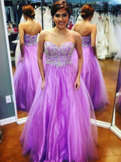 Sweetheart Sleeveless Applique Floor-Length Tulle Prom Dresses,DR1937
