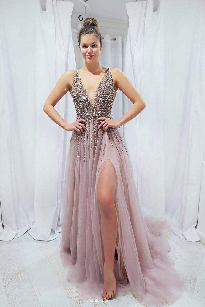 Sexy Pink V-neckline Beaded Tulle Long Formal Dress, Sequins Pink Prom Dress