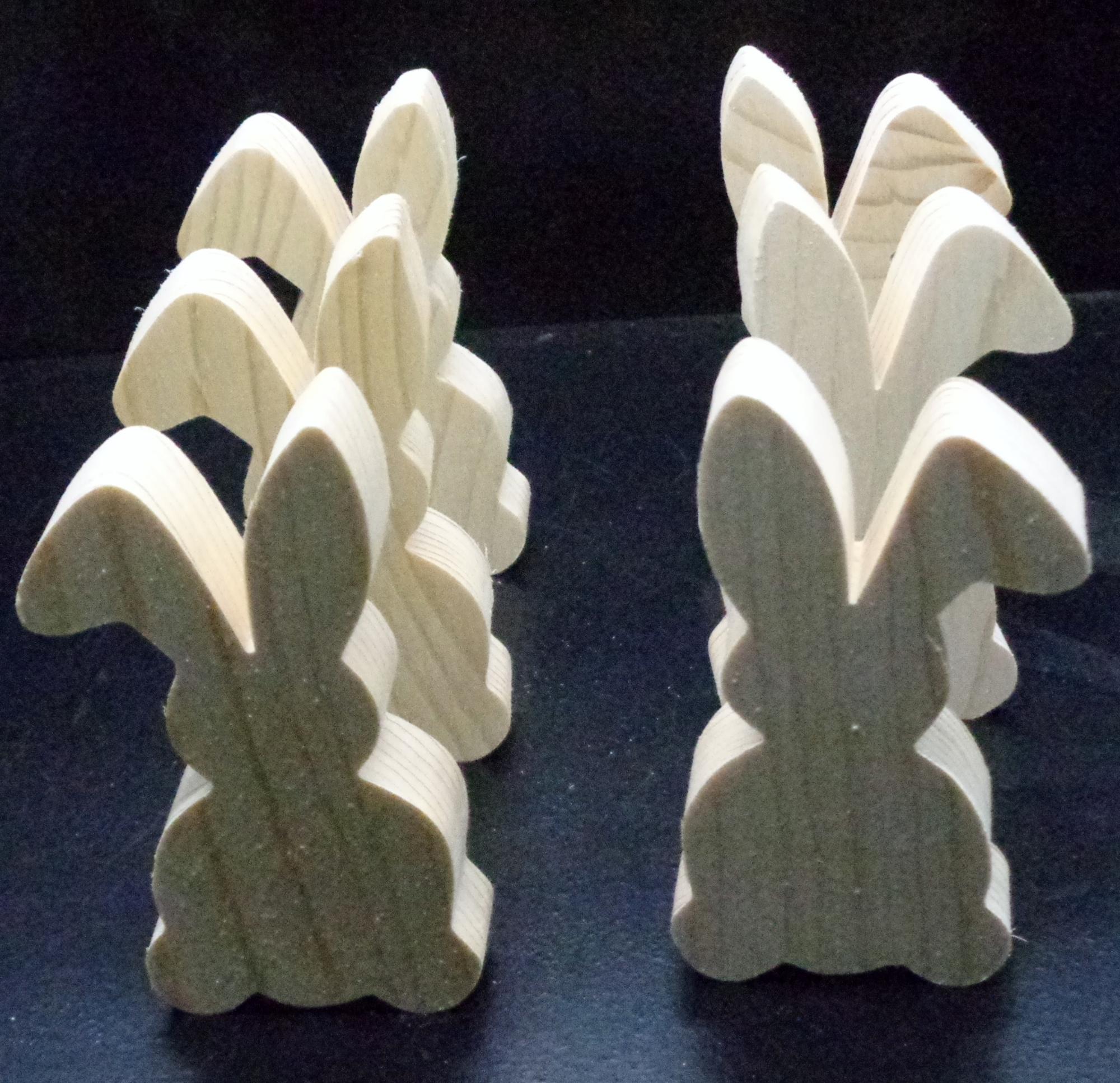 Pkg of 6 Rabbits    Unfinished  Wood Cutouts WCO-89-75
