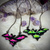 Hand painted Cloudy Bat Silhouette Amulets set in dark copper