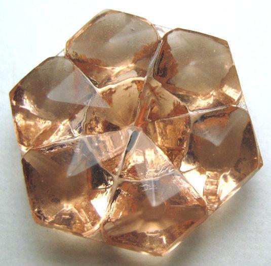 Vintage Transparent Peachy/Lt Pink Glass Button Medium Size