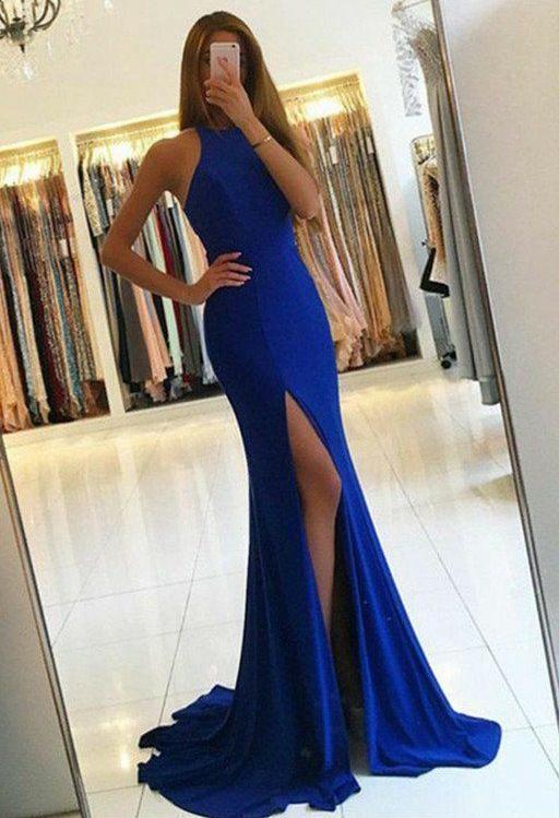 Royal Blue Prom Dress with Slit , Evening Dress, Formal Dresses, Graduation