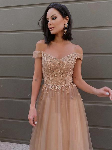 Long Champagne Tulle Lace Off Shoulder Prom Dresses, A-line  Formal Dresses,