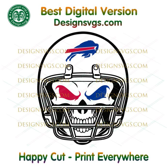 Buffalo Bills Skull Helmet Svg, Sport Svg, Football Svg, Football Teams Svg, NFL