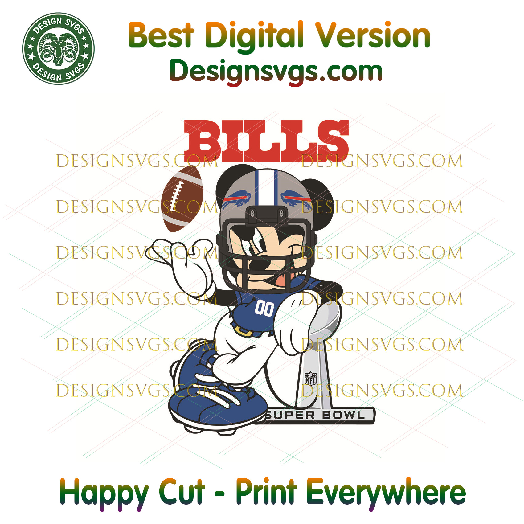 Buffalo Bills Mickey Mouse Svg, Sport Svg, Buffalo Bills, Bills Svg, Bills