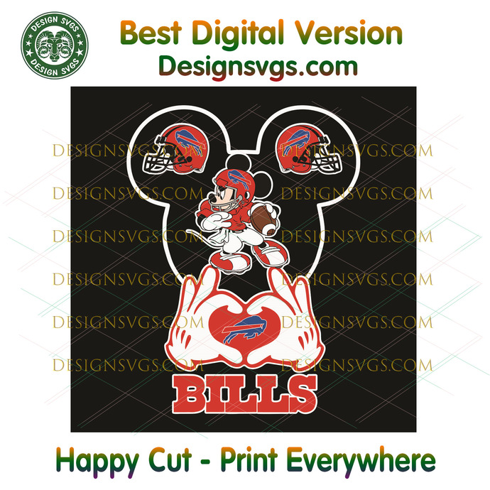 Love Buffalo Bills Mickey Mouse Svg, Sport Svg, Buffalo Bills, Bills Svg, Bills