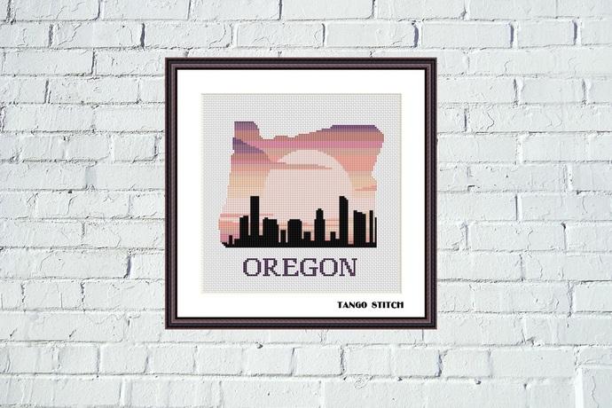 Oregon USA state map sunrise skyline silhouette cross stitch pattern