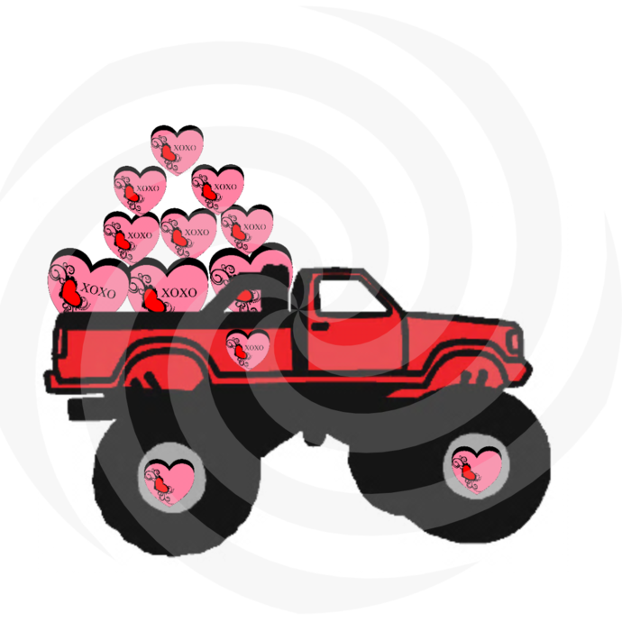 Hearts with Truck 1H-Digital Clipart-Art Clip-Gift Cards-Banner-Gift