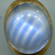 Vintage White with Blue Stripes Moonglow Medium Size Oval