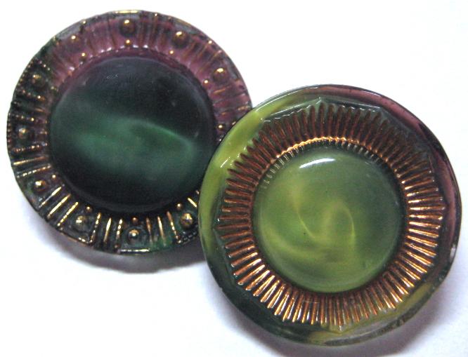 """2 - 11/16"""" Vintage Black Glass Moonglows"""