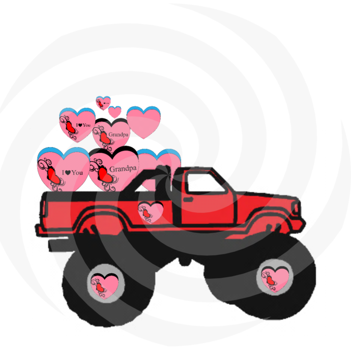 Hearts with Truck 2H-Digital Clipart-Art Clip-Gift Cards-Banner-Gift