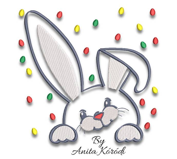 Cute bunny embroidery designs easter eggs machine pes rabbit