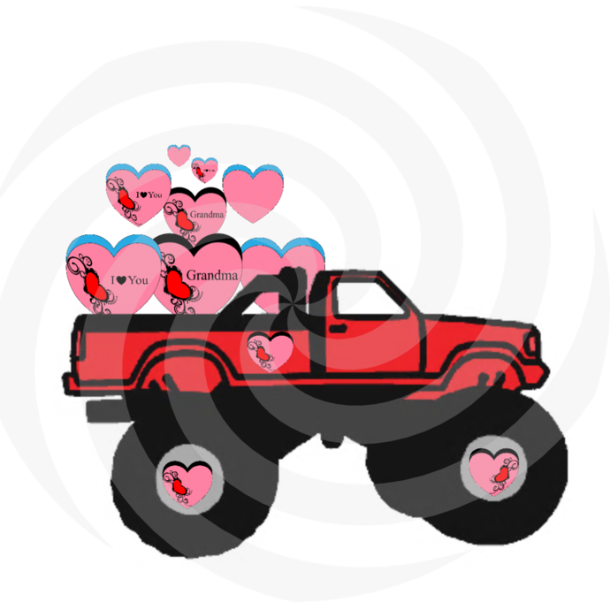 Hearts with Truck 4H-Digital Clipart-Art Clip-Gift Cards-Banner-Gift