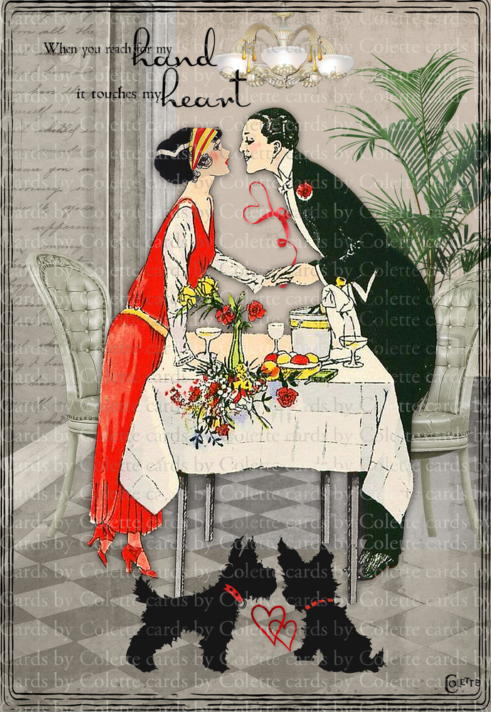 Valentine Couple and Scotties Greeting Card31`60