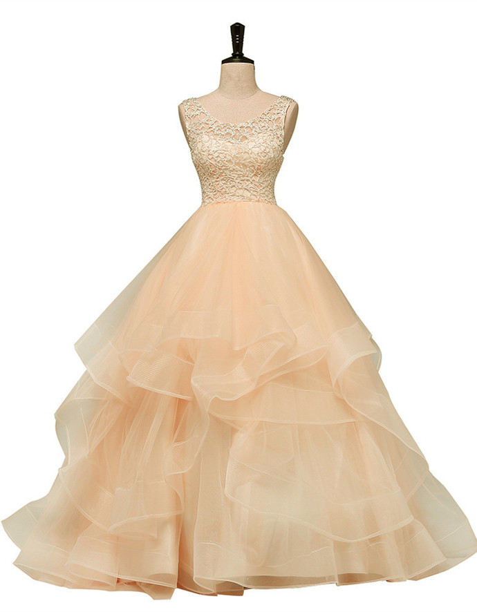 Champagne Tulle Lace Round Neckline Ruffled Quinceanera Dress, Tulle Prom