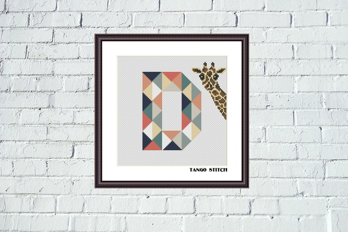 Letter D and cute giraffe geometric patchwork cross stitch pattern