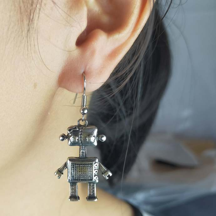 Robot Earrings Steampunk antique silver charm urban hipster metal costume lovely