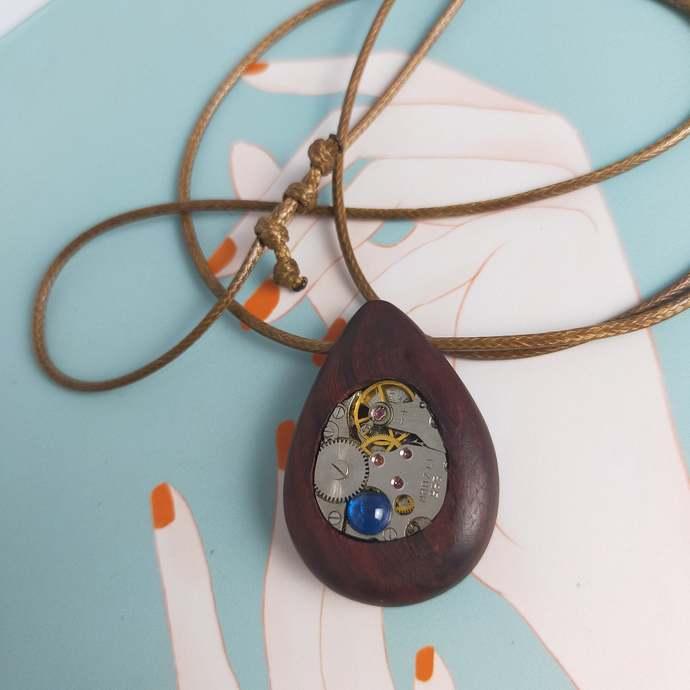 Steampunk pendant wooden oval