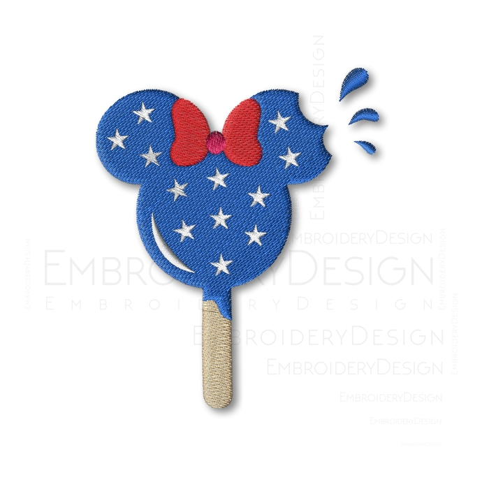 Minnie Ice Cream Embroidery Design 4th of July disney Embroidery Machine Instant