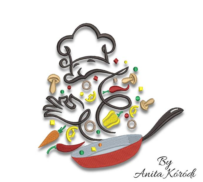 Kitchen Embroidery Machine Designs Pes Cooking Instant Digital Download Cuisine