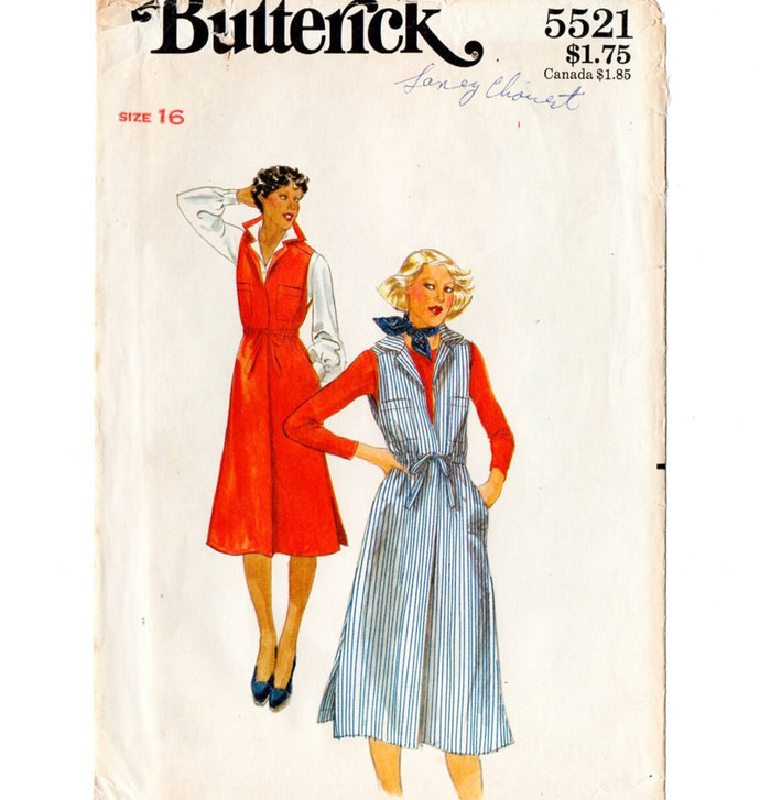 Butterick 5521 Misses Jumper 70s Vintage Sewing Pattern Size 16 Bust 38 Lapped