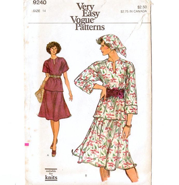Vogue 9240 Misses Top, Bias Skirt, Scarf 70s Vintage Sewing Pattern Size 14 Bust