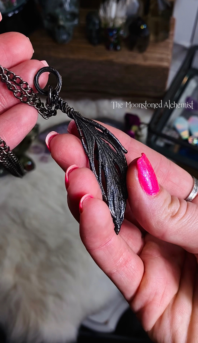 Immortalized Feather Amulet Featuring Cosmic Herkimer Diamond and Swarovski