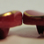 Red Maroon Glass 1950's Oblong Buttons with Gold Luster 7157-6