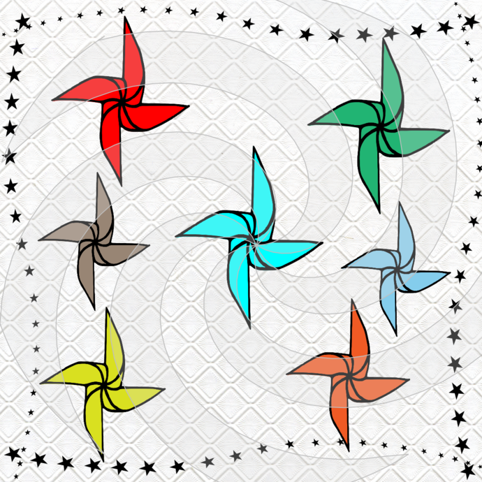 Pinwheel 1P-Digital Clipart-Art Clip-Gift Cards-Banner-Gift Tag-Jewelry-T