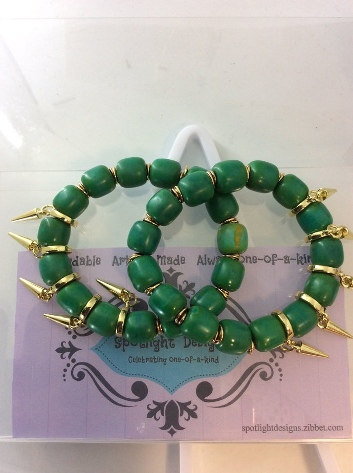 Cleopatra:  a set of two green Magnesite and gold spike stretch bracelets