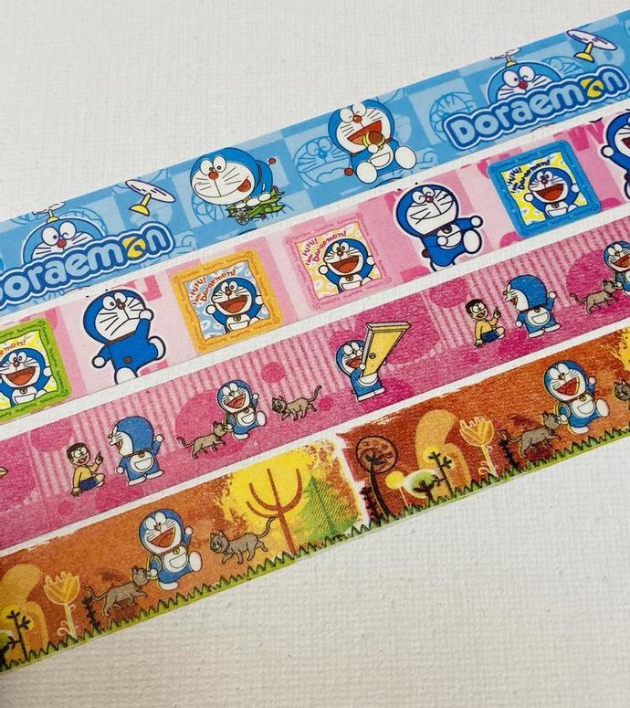 4 Rolls of Limited Edition Japanese Anime Washi Tape: Doraemon the Future Robot