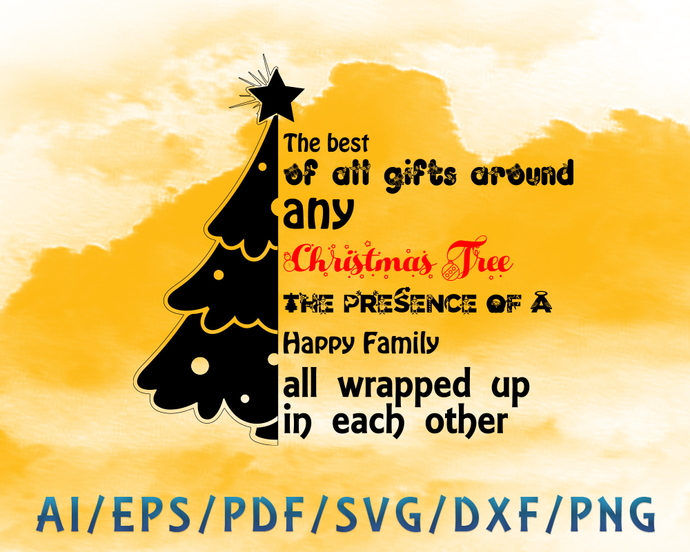 Christmas tree and text