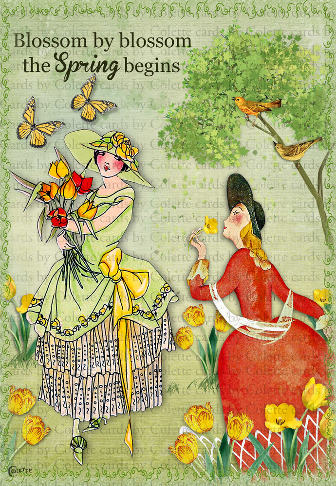 Ladies in a Garden of Tulips Digital Collage Greeting Card3161