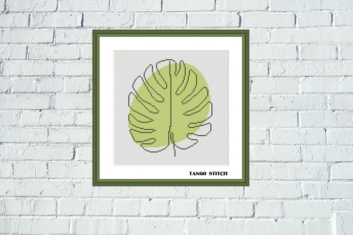 Abstract green leaf cross stitch pattern